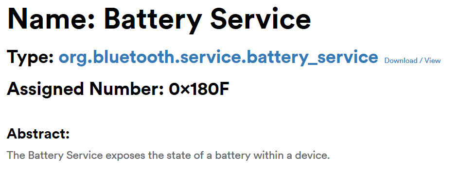 Bluetooth GATT Battery Service