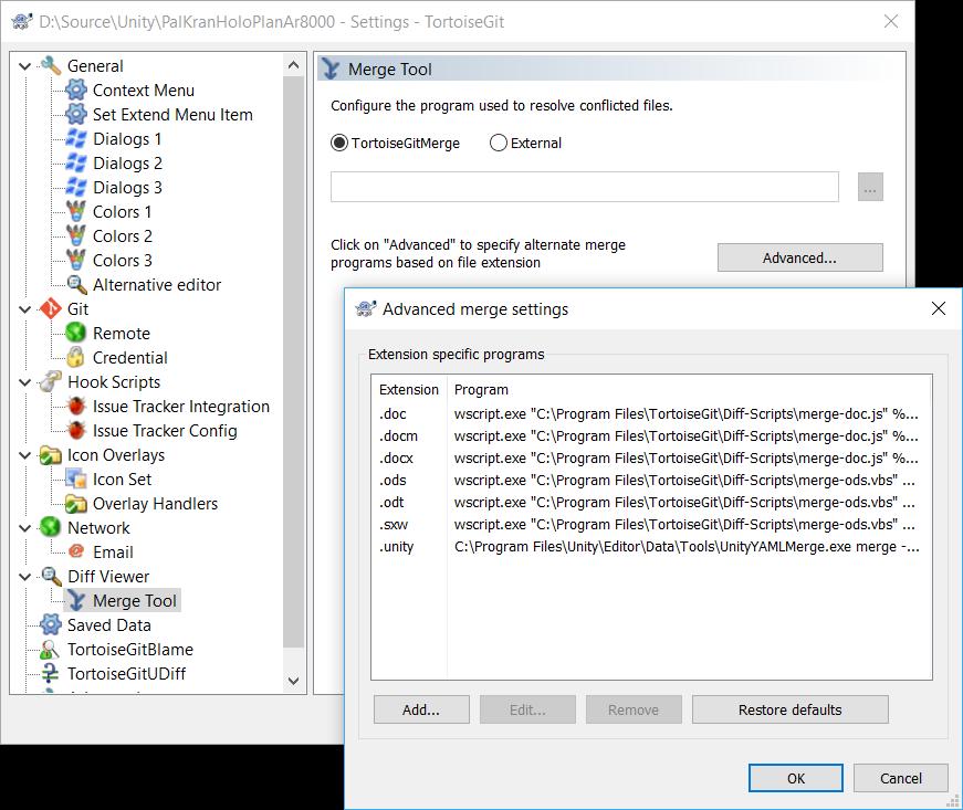 Configuring UnityYAMLMerge in TortoiseGit