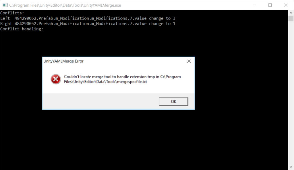 UnityYAMLMerge - Couldn't locate merge tool to handle extension tmp