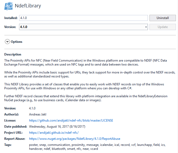 How Libraries are shown within the NuGet Package Manager of Visual