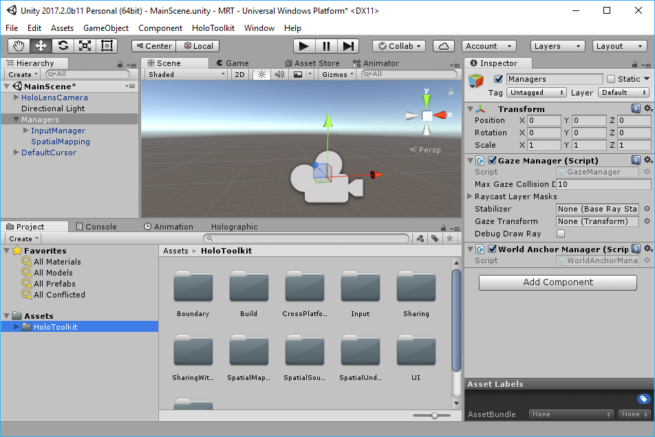 Minimum Scene for a Mixed Reality / HoloLens project in Unity