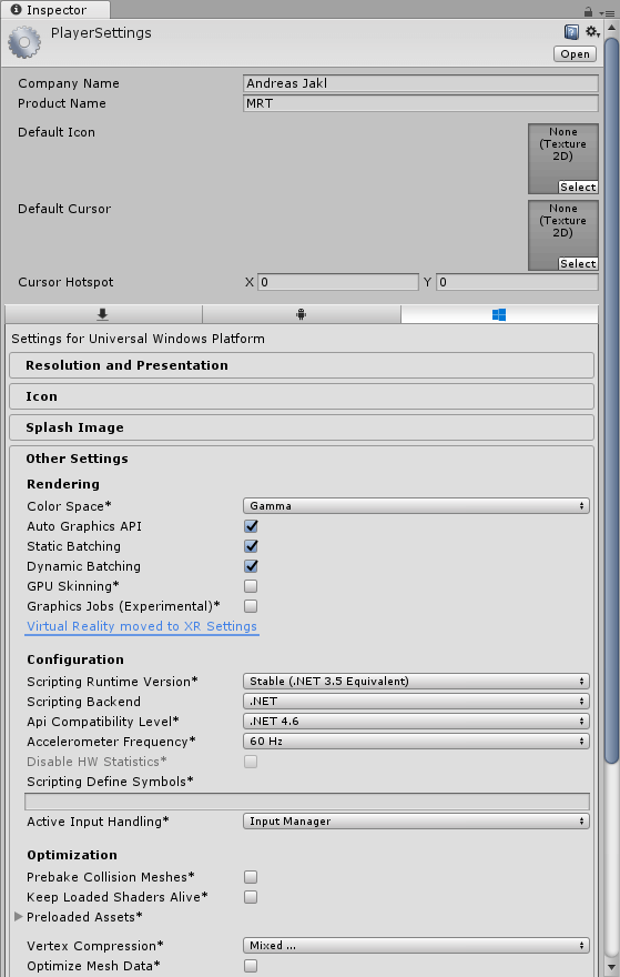 Player settings for Mixed Reality with Unity