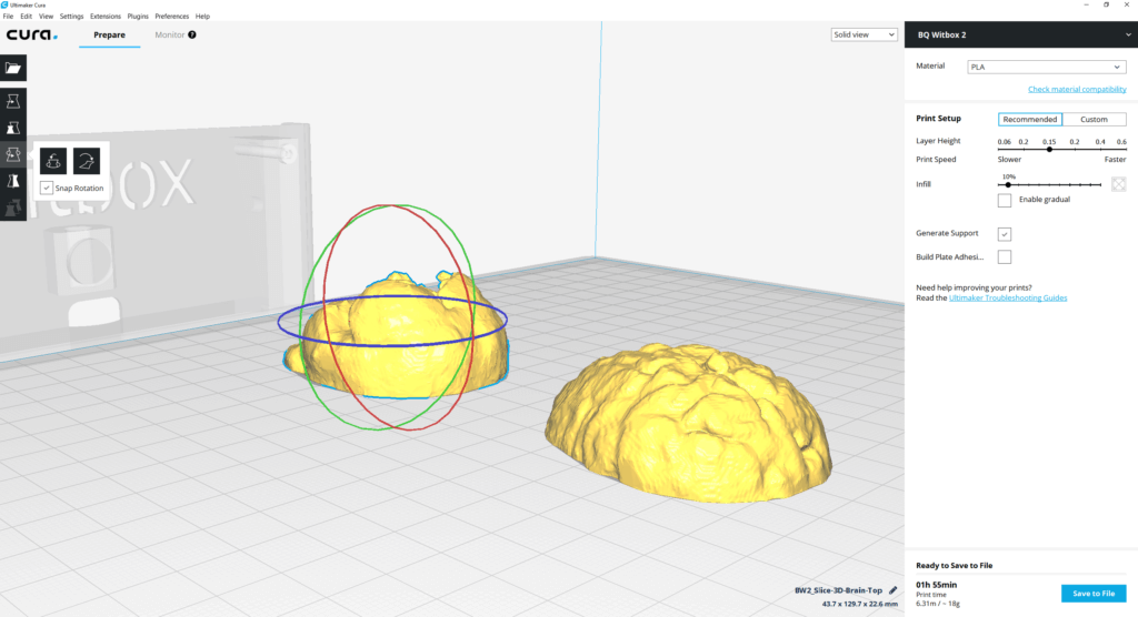 Setup for printing 3D brain from MRI split into two halves