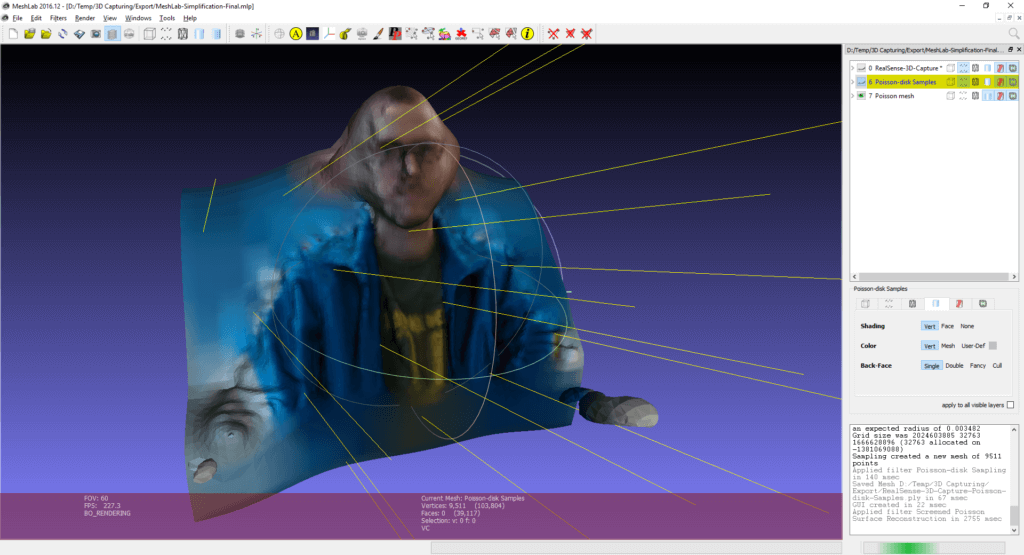MeshLab - Adapting the light source to see the final mesh created from the point cloud