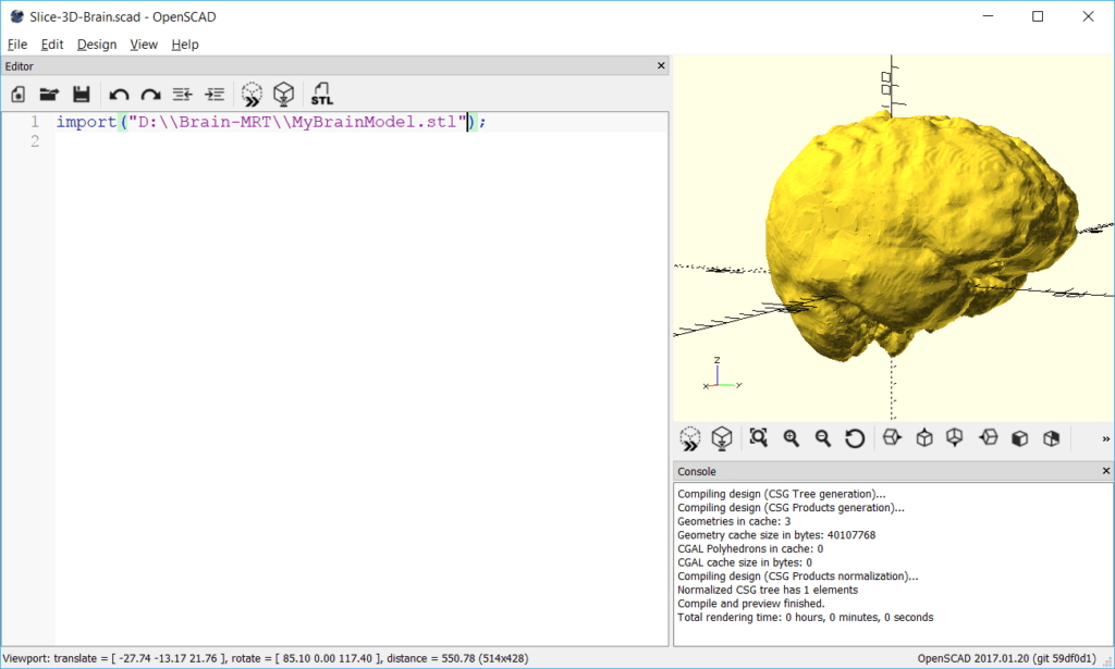OpenSCAD - Import the 3D Brain STL file