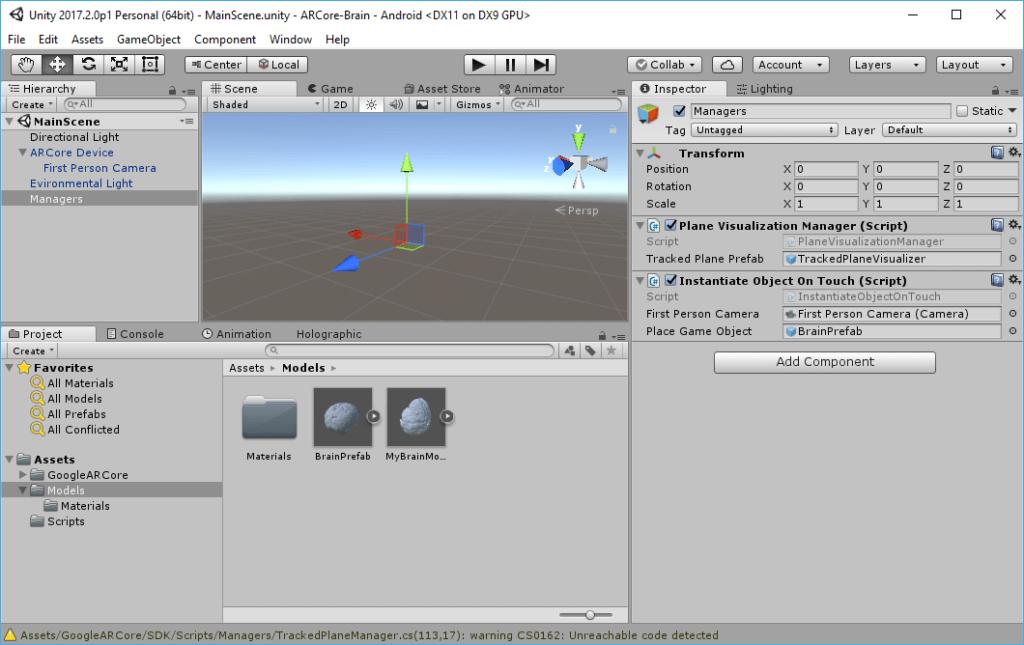 ARCore script: Instantiate Object On Touch