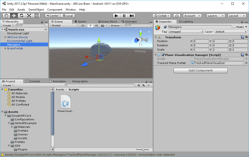 Plane Visualization Manager script for ARCore in Unity