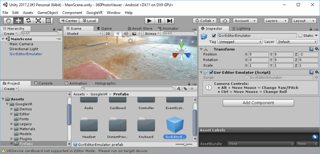 Unity: GvrEditorEmulator Prefab from the Google VR SDK