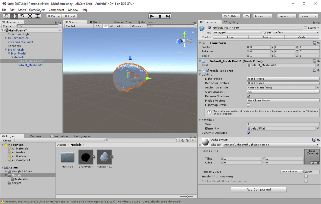 ARCore: 3D object with shader that uses the light estimation for the color calculation