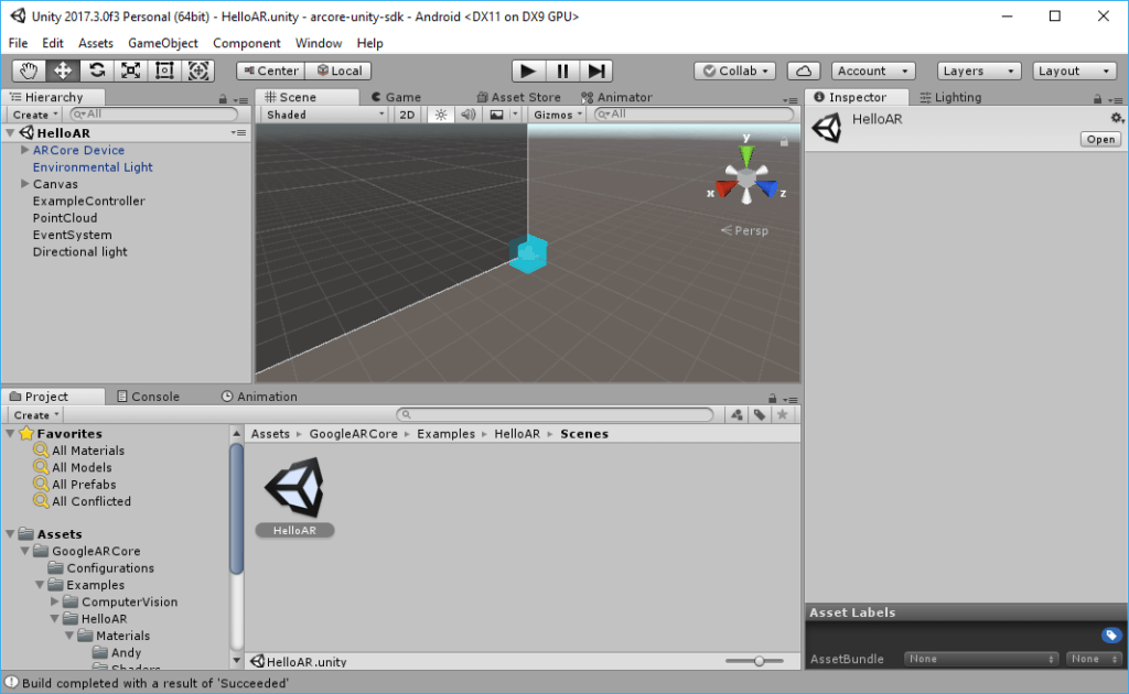 HelloAR Example Scene from the ARCore Preview SDK 2