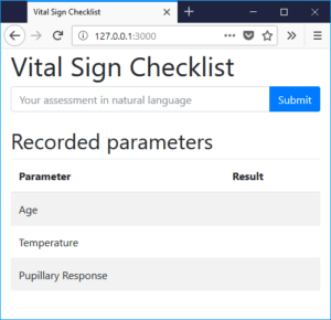 User Interface for our Vital Sign Checklist app that uses the LUIS Language Understanding Service from Microsoft