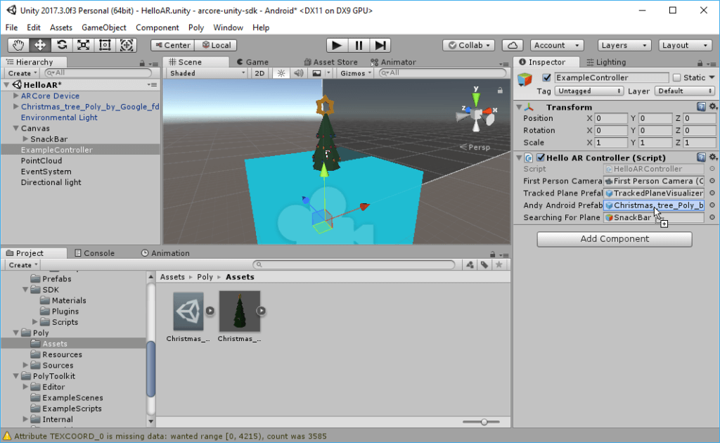 Imported Christmas Tree from Google Poly into Unity for ARCore