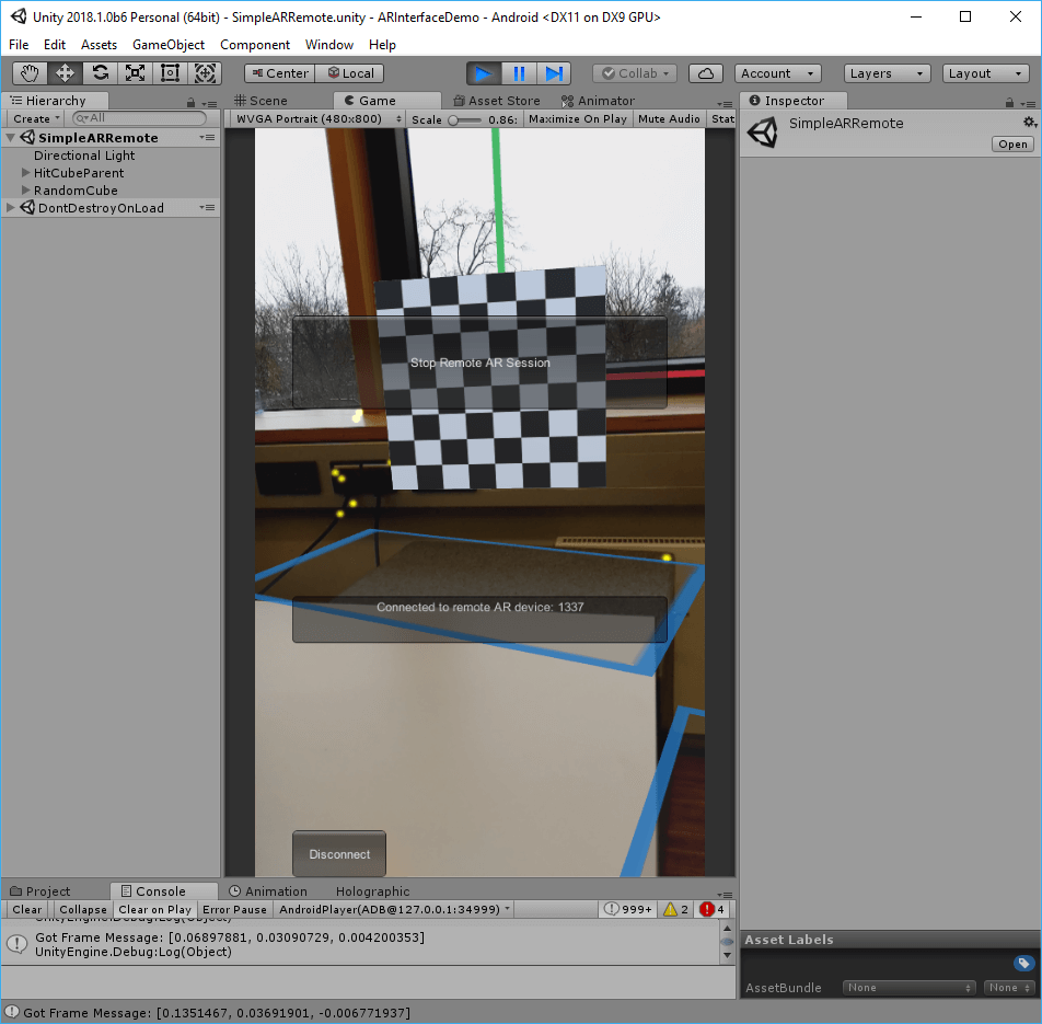 Unity ARInterface: Remote AR Session