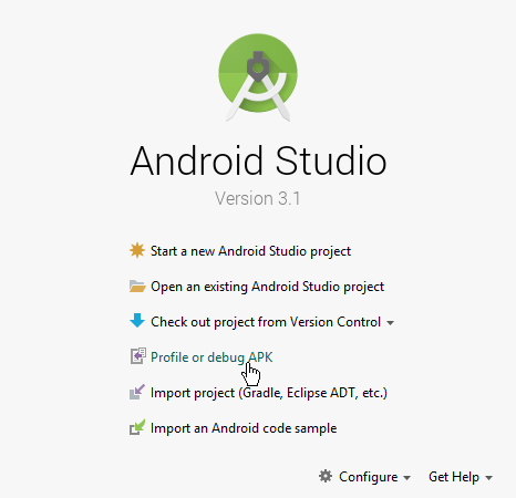 Android Studio Profile or debug apk