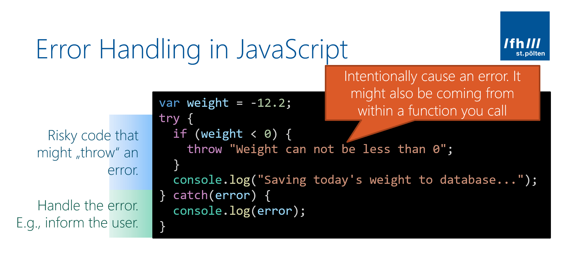 Error handling in JavaScript with try / catch