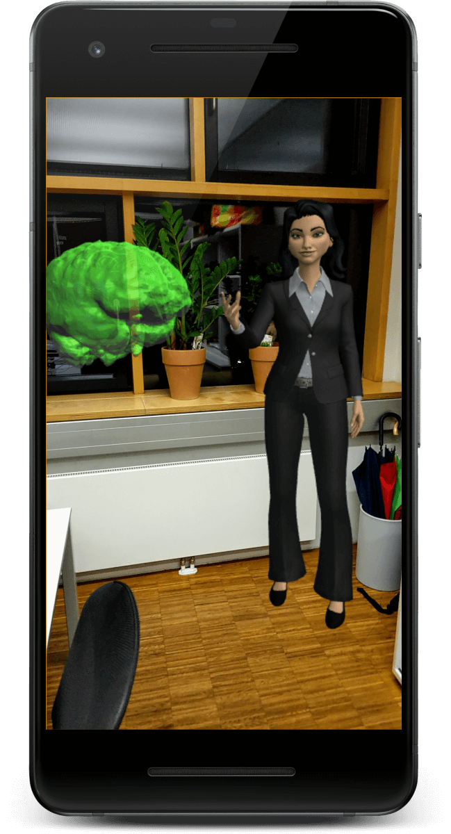 Host and custom 3D model placed in an Augmented Reality world. Scene captured from the Sumerian app running on an ARCore capable phone.