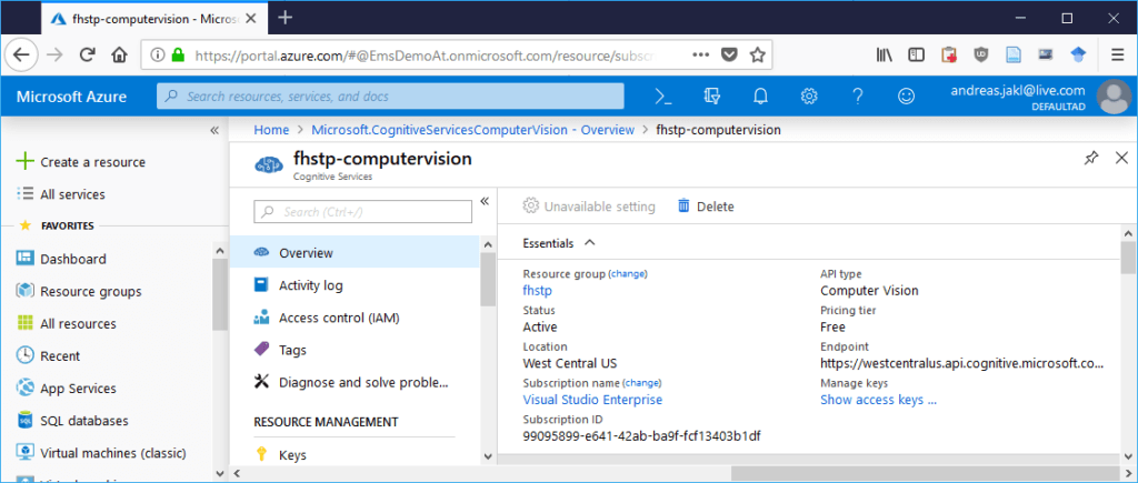 Write down the Endpoint and access keys from your Azure Cognitive Services portal.