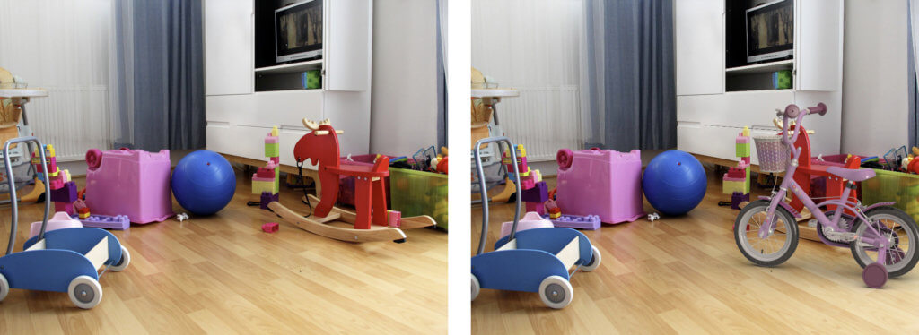 Two images, left shows the original photo; right image has an inserted virtual object with similar lighting applied.