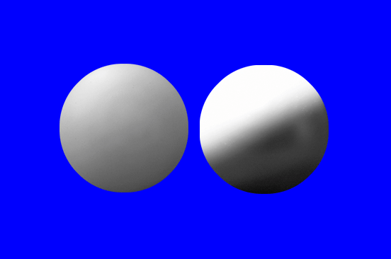Sample image of the experiment, showing two spheres.