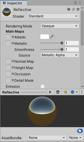 Create a new reflective material based on Unity's Standard shader.