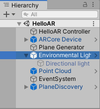 Ensure the environmental light prefab (together with the directional light) is part of your Unity ARCore scene.