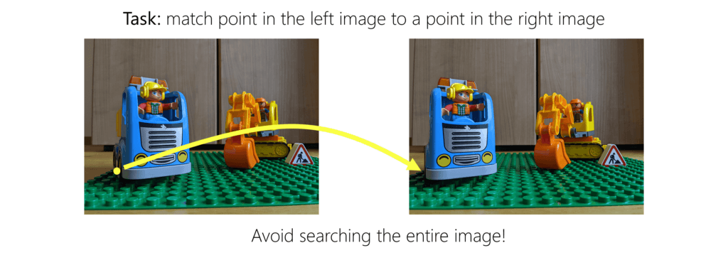 Task: match a point in the left image to a point in the right image. Avoid searching the entire image!