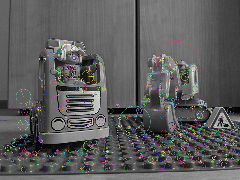 Keypoints detected by the SIFT algorithm in OpenCV.