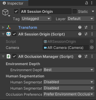 """Add the AR Occlusion Manager to AR Session Origin and change the Environmental Depth quality to """"best""""."""