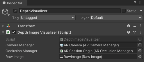 The depth visualizer script with its three assigned properties.