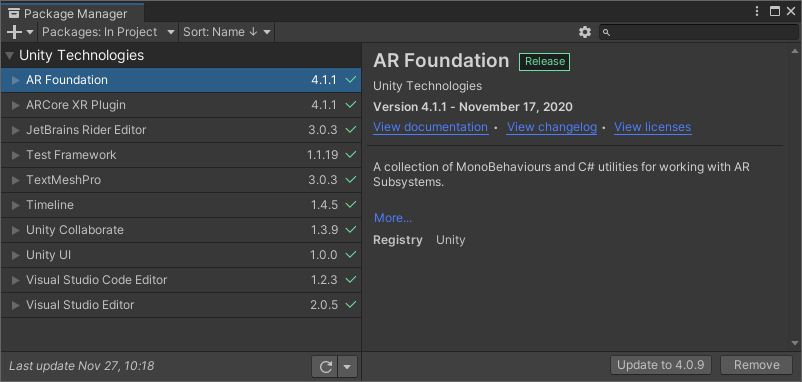 Unity Package Manager with AR Foundation & ARCore XR Plugin packages installed.