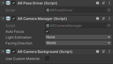 The three main scripts attached to the AR Camera: AR Pose Driver, AR Camera Manager and AR Camera Background. These contain some important settings you should configure.