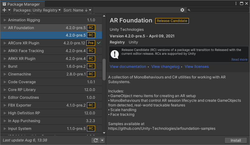 Install the AR Foundation plug-in if it's not installed automatically.