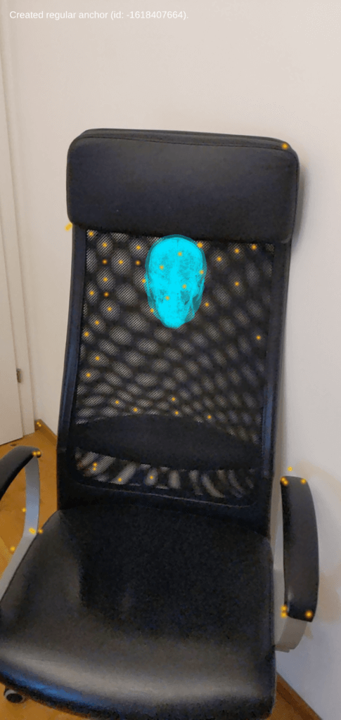 Hologram anchored to an AR feature point