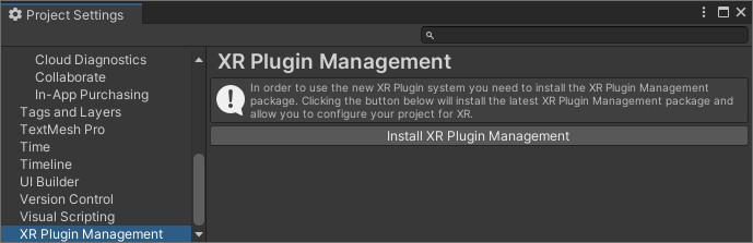 Install XR Plugin Management in Unity's Project Settings.