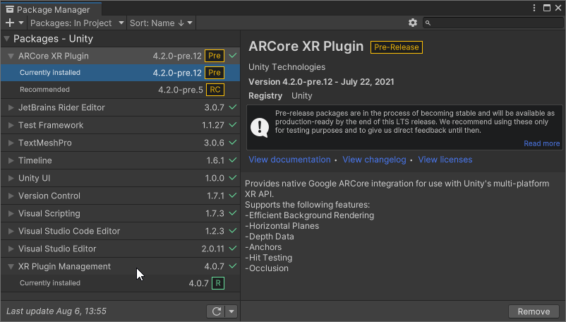 Make sure all the XR Plugins are up-to-date. Check out the pre-release version notes if it's worth it updating to a pre-release (this can be enabled through the settings-button in the top-right corner next to search).